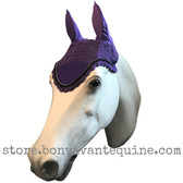 Purple with black cording and clear crystal bling trim.   Horse Fly Veil Bonnet Ear Net