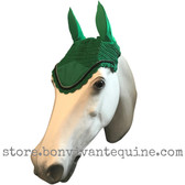 Kelly green with black cording and clear crystal bling trim. Horse Fly Veil Bonnet Ear Net
