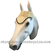 Cream with black cording and clear crystal bling trim. Horse Fly Veil Bonnet Ear Net