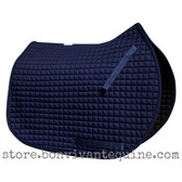 Navy Blue All-Purpose English Saddle Pad.  Shown here with matching, navy blue piping/trim.