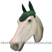 Hunter green Horse Bonnet with Navy Blue rope cord and clear crystal bling trim.