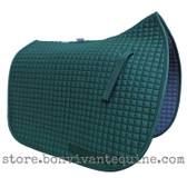 Hunter Green Dressage Saddle Pad Shown here with Optional Matching Piping/Trim.