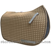 Khaki Sand Brown Dressage Saddle Pad with Black Piping