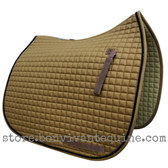 New Butterscotch/Camel Colored Dressage Saddle Pad with black accent rope cording by PRI Pacific Rim