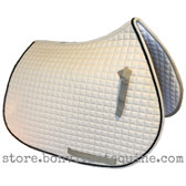 Beige All-Purpose English Saddle Pad.  Shown here with black #7 accent rope/cord.