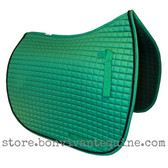 Dark Kelly Green Dressage Saddle Pad with Black Accent Rope/Cord.