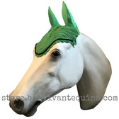 Apple Green Horse Bonnets | Fly Veil | with Bling and #7 Black Rope/Cord Trim