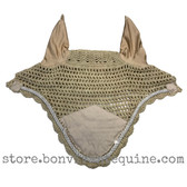 Khaki Beige Horse Bonnets | Fly Veil | with Bling and #41 Light Silver Rope/Cord Trim