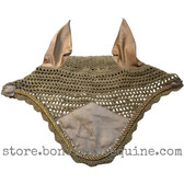Khaki Beige Horse Bonnets   Fly Veil   with Bling and #25 Bright Gold Rope/Cord Trim