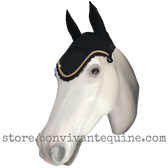 Black Horse Bonnets | Fly Veil | with Bling and #33 Gold Rope/Cord Trim