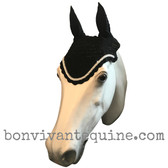 Black Horse Bonnets | Fly Veil | with Bling and #41 Light Silver Rope/Cord Trim