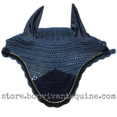 Midnight Blue with black cording and clear crystal bling trim. Horse Fly Veil Bonnet Ear Net