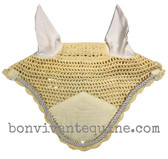 Champangne Butter Cream   Fly Veil   with Bling and  #41 Light Silver Rope/Cord Trim