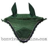 Hunter Green | Fly Veil | with Bling and  #6 Navy Blue Rope/Cord Trim