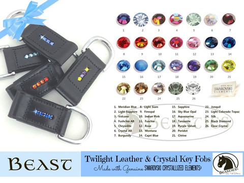 Leather Key Fobs made with genuine Swarovski Crystals