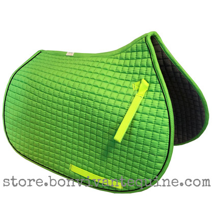 Lime-Apple-Green all-purpose English saddle pad.  Shown here with black piping