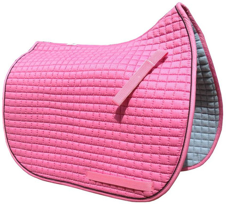 Candy Pink Dressage Saddle Pad with Black Piping