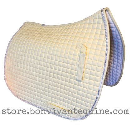 Elegant Champagne Butter Cream Dressage Saddle Pad with #41 Light Silver Accent Rope/Cord.