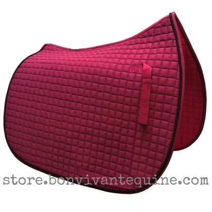 Hot Pink / Magenta Dressage Saddle Pad with Black Accent Rope/Cord.