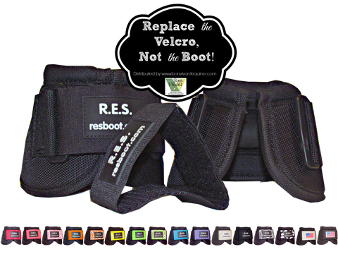 Each set of bell boots comes with two black replacement Velcro® brand closure straps.  Additional straps sold sep. for your perfect bell boot color.