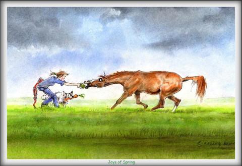 "Horse Card:  ""Joys of Spring"" #JT04"