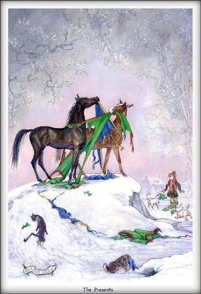 Christmas Horse Card:  The Presents #JT17
