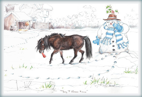 Christmas Horse Card:  They'll Never Know #JT44