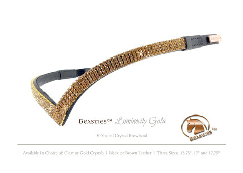 V-Shaped Gold Crystal Dressage Browband | Beasties™ Luminocity Gala.