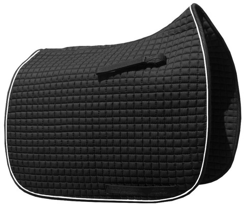 Black Dressage Saddle Pad with White Piping Detail Around the Border.  Classy and Elegant!