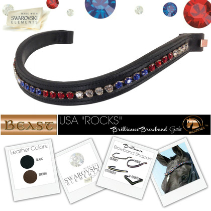 Red White and Blue Browbands - Custom Design Your Own USA Flag Browband using Patriotic Colors!
