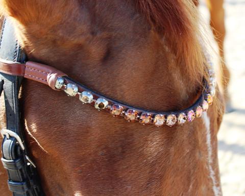 Rose Gold 10mm Large crystal wave Horse Browband