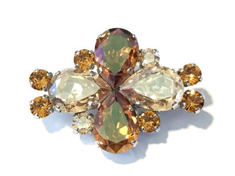 "Copper Chestnut Shimmer Dressage Brooch / Stock Pin | ""Fleur"" by Beasties™"