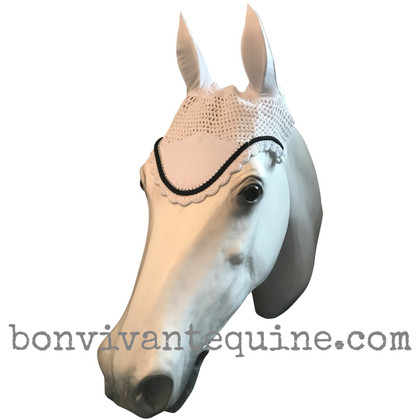 White with black cording and clear crystal bling trim. Horse Fly Veil Bonnet Ear Net