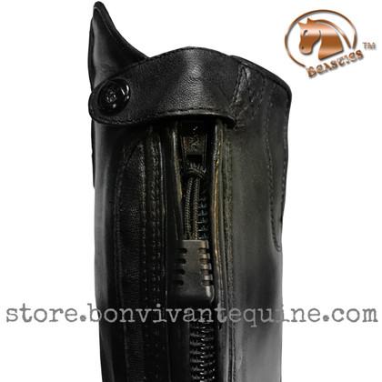 Zipper pulls feature a non-slip textured plastic grip and durable nylon cord.