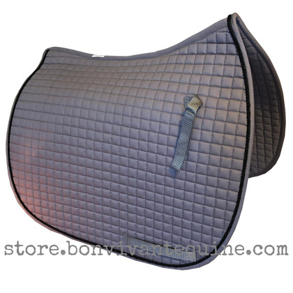 Gray Dressage Saddle Pad with Black Accent Rope/Cord.
