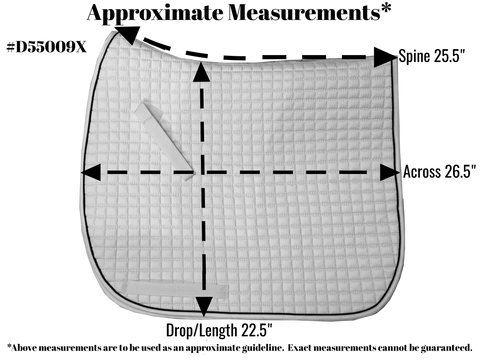 Size Chart for Extra Long Dressage Saddle Pad.  ***Measurements are approximate only!!!
