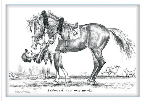"""Front View.  Funny Dressage Greeting Card.  """"Between Leg and Hand"""""""
