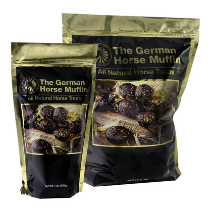 German Horse Muffins - Packaged in a resealable bag.