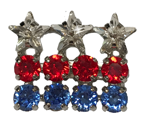 USA Patriotic Flag Red, White and Blue Dressage Brooch / Stock Pin | Stars & Stripes by Beasties™