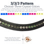 5a.  3/3/3 Pattern:  Choose three crystal colors.  Each color will be evenly laid out in sets of three's with the custom browband.