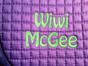 Lavender Saddle Pad | Font:  Hobo (uppercase and lowercase) | Straight Across |  #7 Lime Thread
