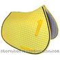 Yellow All-Purpose English Saddle Pad with black #7 accent rope/cord.