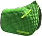 Lime-Apple Green Dressage Saddle Pad - Shown here with black trim/piping.