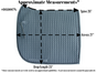 Size Chart for Extra Long, Olympic Flag-Tail Dressage Saddle Pad with Equu-Felt.  ***Measurements are approximate only!!!