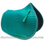 Teal All-Purpose English Saddle Pad Shown Here with White Piping
