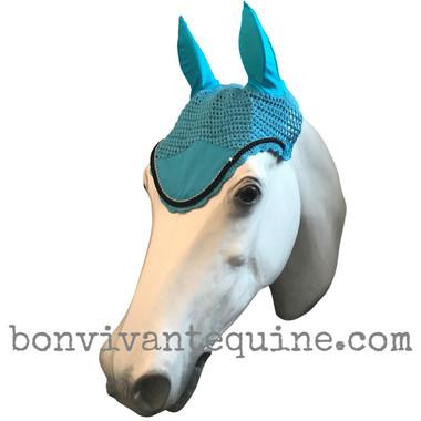 soundless fly bonnet blue long blue fly bonnet pony fly veil horse veil blue dark blue long bonnet long model fly veil navy fly bonnet