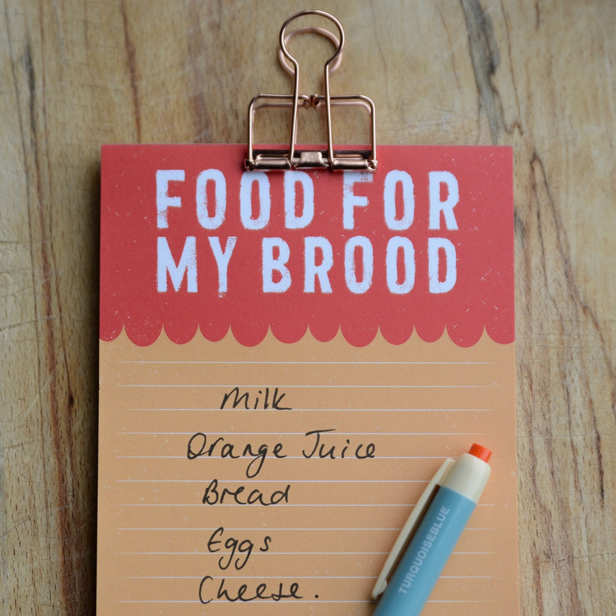 Food For My Brood Magnetic Shopping List Pad