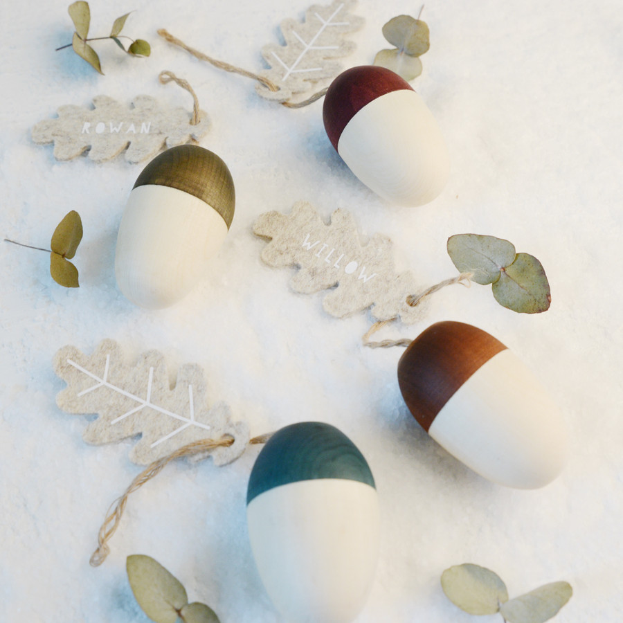 Set Of Four Personalised Hollow Wooden Acorn Decorations
