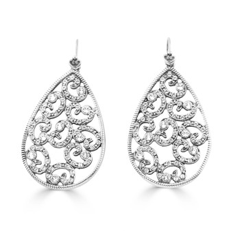 Interstellar Drop Earrings  Miglio burnished silver Swarovski® crystal detachable french wires hypoallergenic