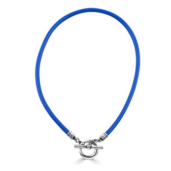 Royal Blue Sewn Leather Necklace